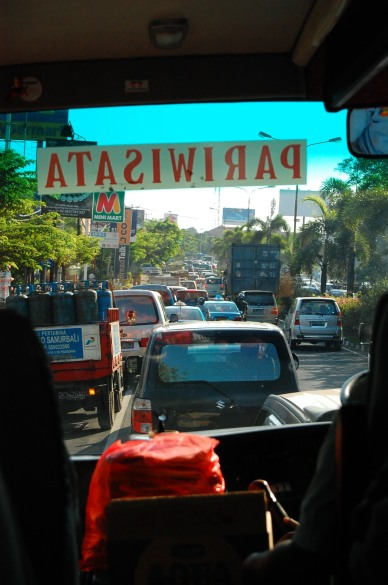 Congested road in Bali..